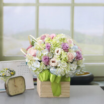 Pastel Blooms in Wooden Box